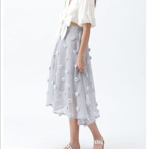 Chicwish COTTON CANDY SHEER 3D FLOWER SKIRT GREY
